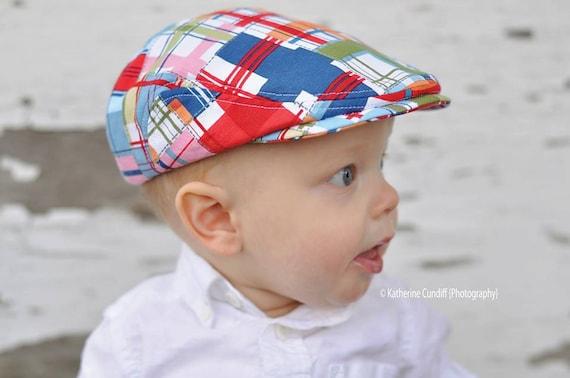 Baby flat cap madras check baby newsboy hat baby photo prop  d4113ec7483