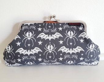 Bat and spider kisslock clutch, gothic, rockabilly, psychobilly  retro, kitsch, alternative, skull, Halloween