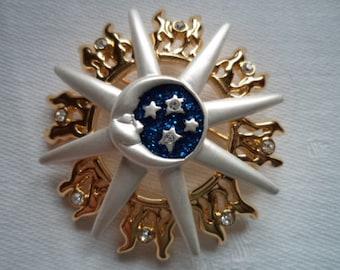 Vintage Signed Danecraft Sun Moon and Stars Brooch