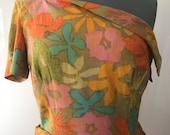 1960s Dress Vintage 60s Dress Linen California Floral Hawaiian Tropical One Shouldered Sarong Wrap