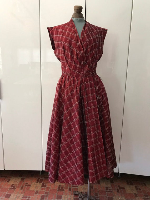 1950s Dress / Vintage 50s Dress / Bias Cut Skirt P
