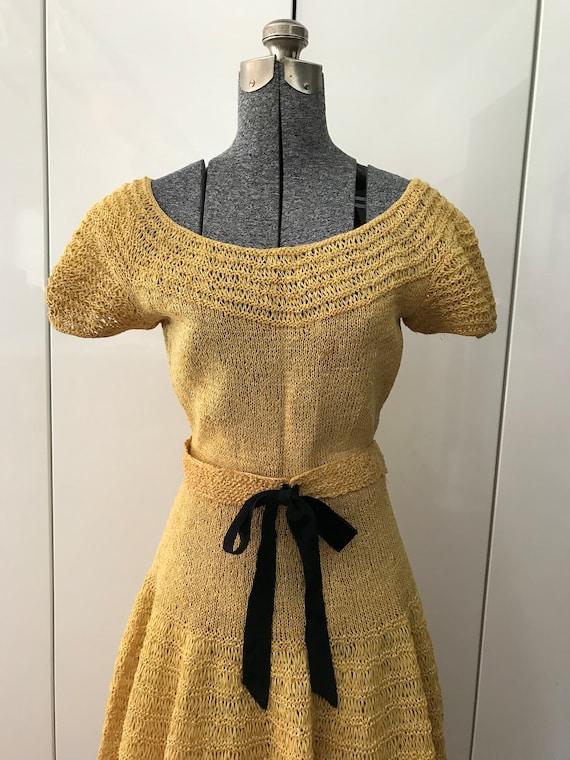 1950s Dress / Vintage 50s Dresss / Hand-Knit Croch