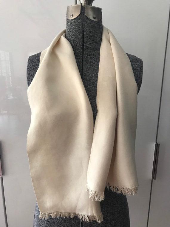 Vintage 40s Silk Scarf Ascot Ivory Silk 1940s