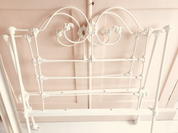 Vintage Single Bed Frame Cast Iron Powder Coated In Cream W Etsy