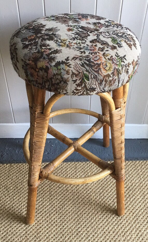Bamboo Bar stool Retro Cane furniture Vintage rattan Island stool.