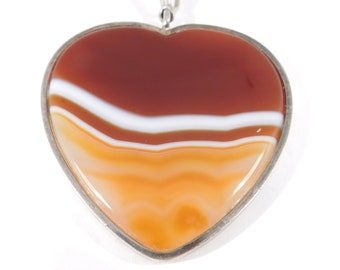 Oversized Silver Banded Agate Heart Pendant Beautiful
