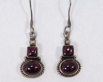 Beautiful Garnet Earrings Sterling Silver Drop