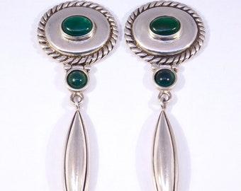 Modernist Sterling Chrysoprase Drop Earrings Signed