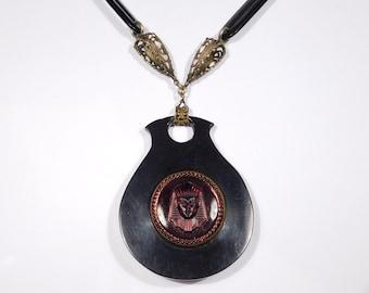 Art Deco Egyptian Glass Filigree Brass Necklace 1920s