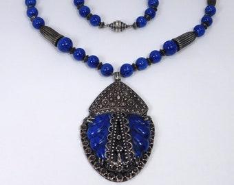 Art Deco Venetian Glass Fishel Nessler Ornate Necklace
