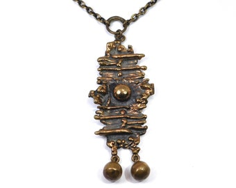 Modernist Bronze P. Sarpaneva Necklace Finnish