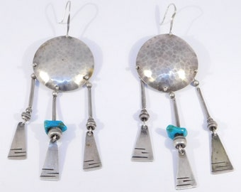 Modernist Hand Hammered Bold Silver Turquoise Earrings