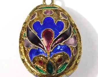 Vintage Cloisonne Enamel Egg Pendant Charm Vermeil