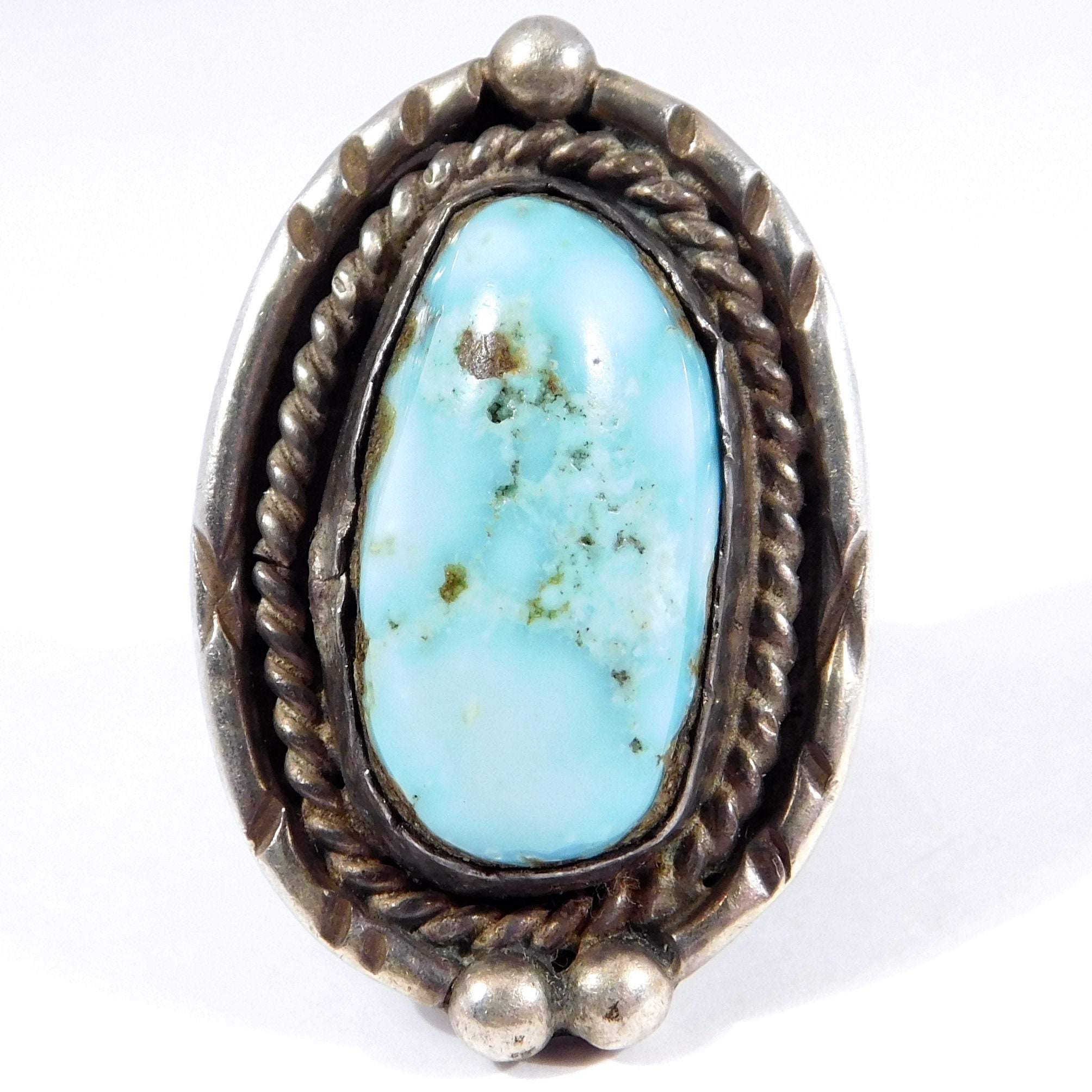 Southwest Vintage Blue Turquoise Silver Ring
