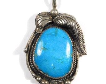 Beautiful Large Turquoise Southwest Silver Pendant