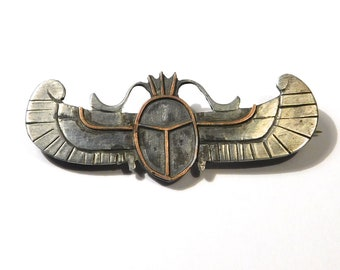 Unique Egyptian Revival Scarab Brooch Mixed Metals