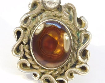 Sterling Fire Agate Ring Southwest Design