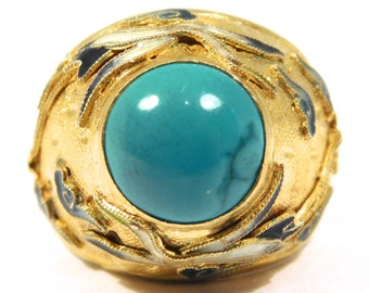 Chinese Silver Turquoise Dome Ring With Cloisonne Cranes