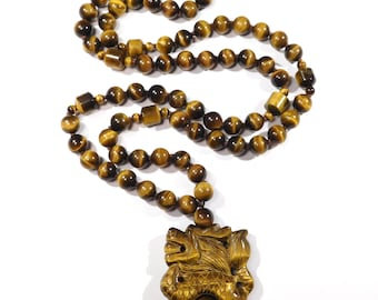 Chinese Tiger Eye Necklace Carved Dragon Ornate Beads