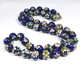Vintage 12mm Knotted Chinese Enamel Cloisonne Beads Necklace