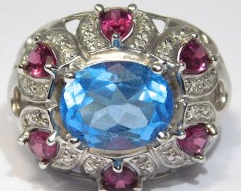 Fancy 10k Blue Topaz Diamonds Rhodolite Garnet Estate Ring