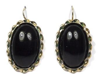Vintage Black Onyx Earrings Gold Filled Drop Style