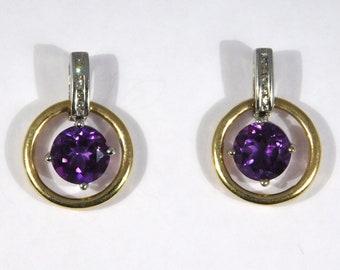 14K Estate Diamonds Amethyst Post Back Dangle Earrings Pretty