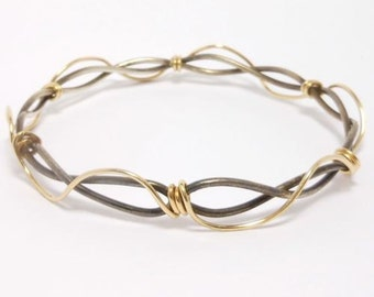 Modernist Sterling Mid Century Mixed Metals Bangle