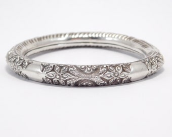 Antique Ornate Repousse Sterling Silver Bangle