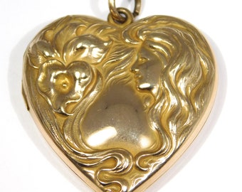 Rare Art Nouveau Locket Heart Shape With Lady Gold Filled