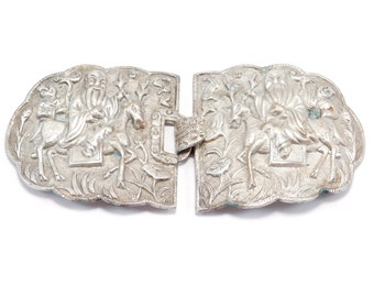 Huge Ornate Repousse Old Chinese Figural Belt Buckle