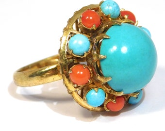 Chinese Domed Persian Turquoise & Coral Vermeil Ring