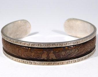 Unusual Silver Mixed Metals Dragon Cuff Bracelet Engraved