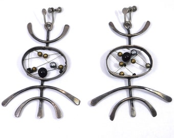 Mid Century Vintage Modernist Silver Earrings Attributed To Ed Levin