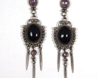 Sterling Drop Amethyst Onyx Modernist Earrings