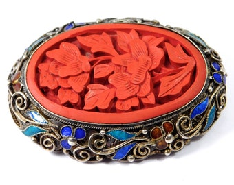 Old Chinese Silver Filigree Cinnabar Cloisonne Brooch