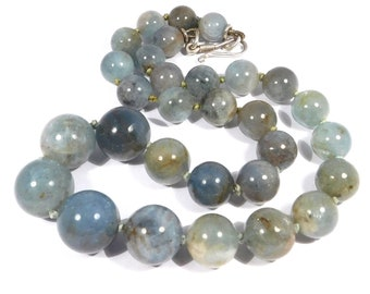 Estate Graduated Natural Labradorite Beads Large MM Polished