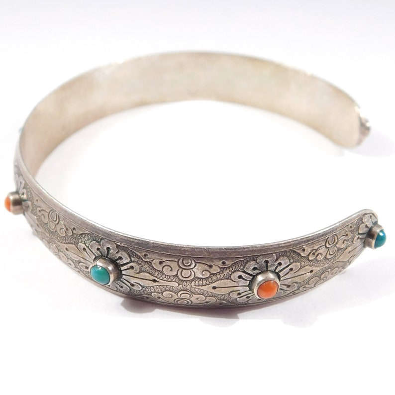 Unique Engraved Silver Ethnic Coral And Turquoise Cuff Bracelet