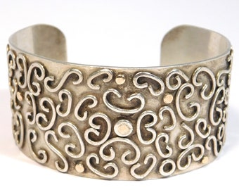 Hand Forged Sterling & 14k Modernist Cuff Bracelet