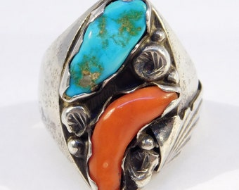 Zuni Turquoise Coral Silver Ring By Nieto Gorgeous