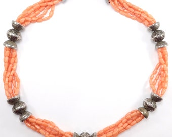 Southwest Silver Bench Bead And Coral Multistrand Necklace