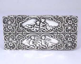 English Sterling Repousse Cupids Trinket Box Ornate