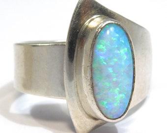 Beautiful Modernist Opal Ring Sterling Lots Of Fire