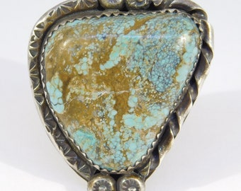 Large Vintage Silver Turquoise Hand Stamped Bezel Ring