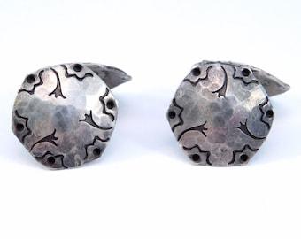 Silver Arts & Crafts Hand Hammered Cufflinks