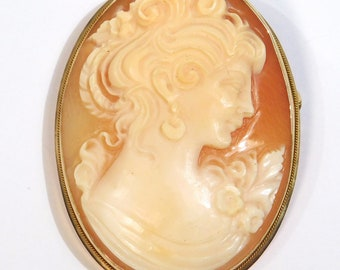 Estate Fine 14K Carved Cameo Brooch Or Pendant Italy