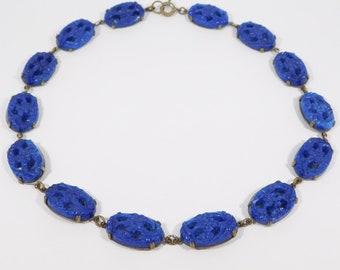 Art Deco Czech Glass Cobalt Ornate Necklace 1920