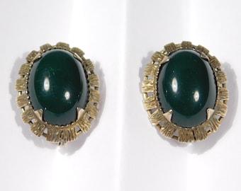 Silver Gilt Spinach Jade Estate Leverback Earrings Pretty