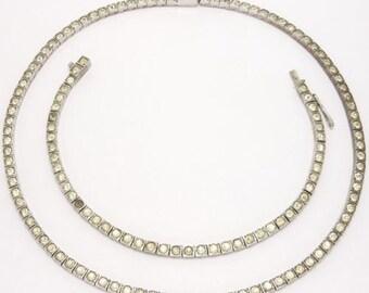 Sterling Line Bracelet & Necklace Art Deco Crystals