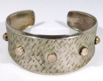 German K&L Modernist 835 Rose Quartz Engraved Cuff Bracelet